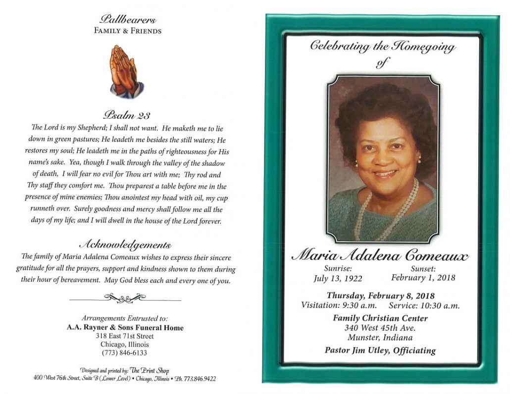 Maria Adalena Comeaux Obituary Aa Rayner And Sons Funeral Home